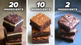20-Ingredient vs. 10-Ingredient vs. 2-Ingredient Brownie  Tasty