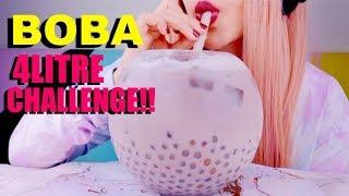ASMR BOBA GIANT BUBBLE TEA *Sticky Soft* Eating Sounds