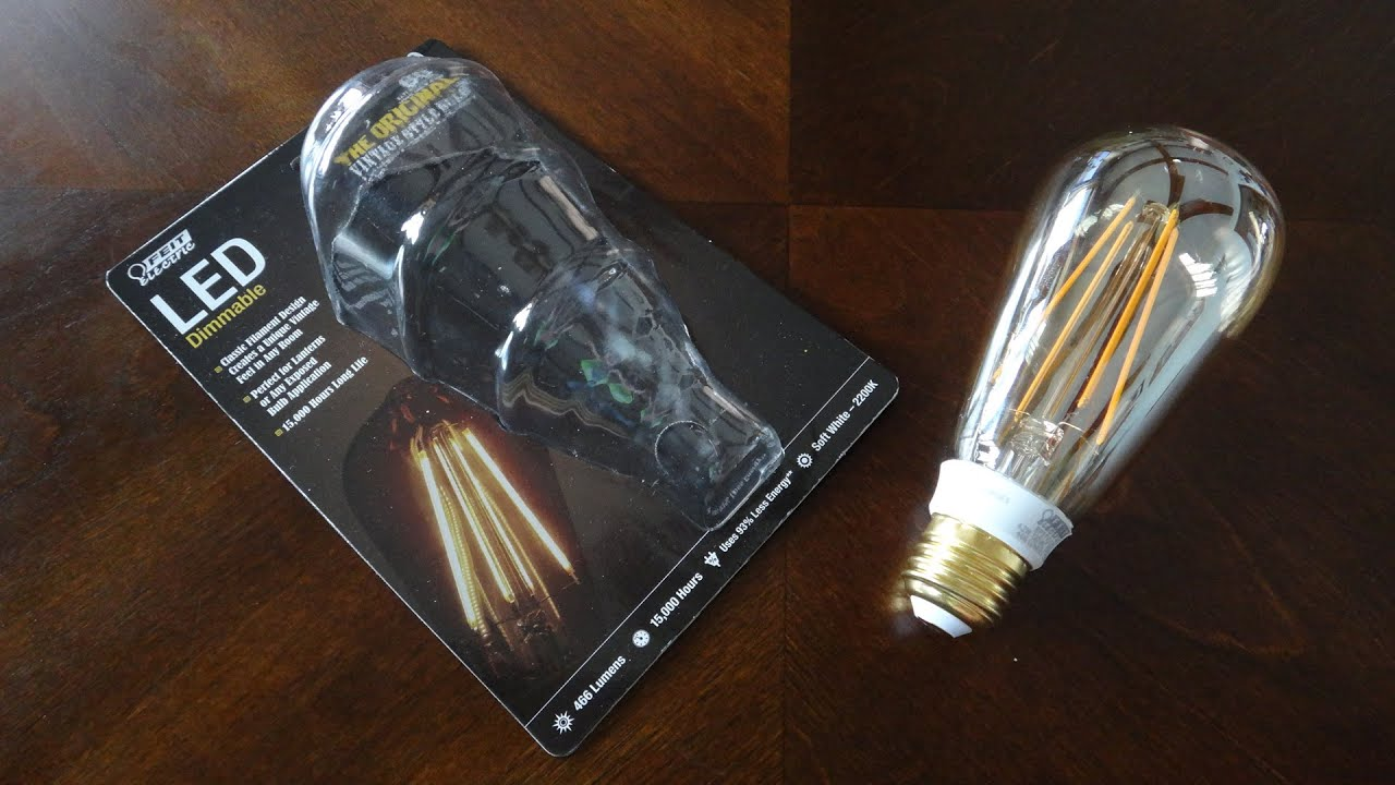 feit filament led light bulb vintage style youtube