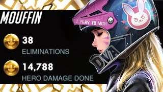 MOUFFIN PRO DVA! 38 ELIMS! [ OVERWATCH SEASON 18 TOP 500 ]
