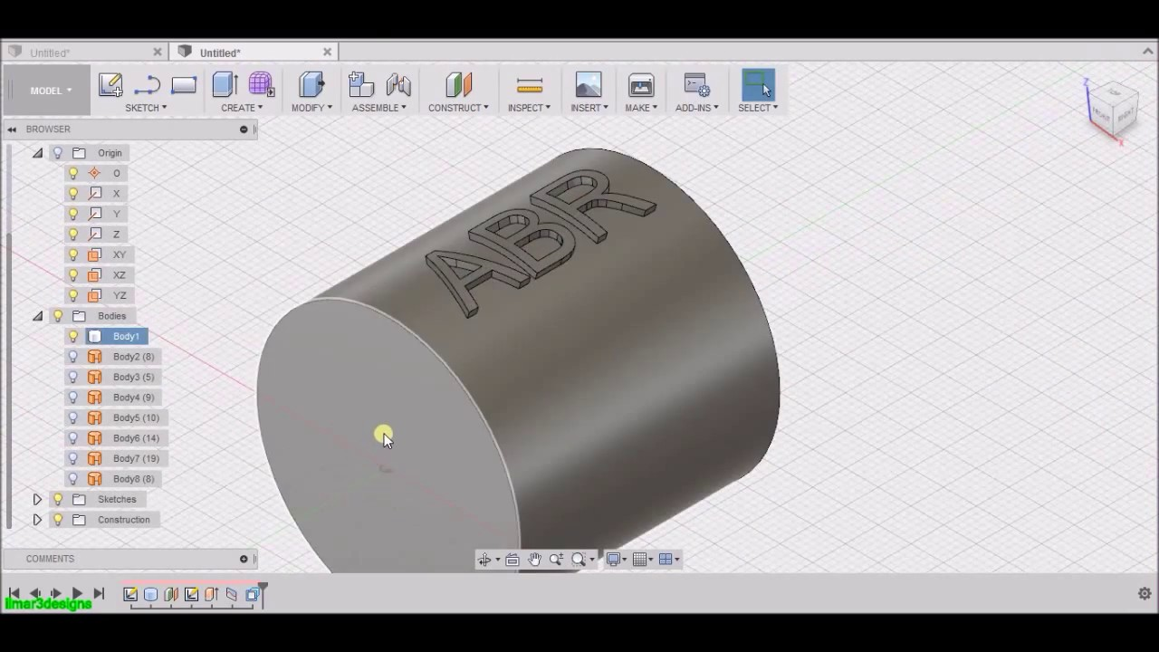 Autodesk Fusion 360 How to create embossed engraved letters Part 2