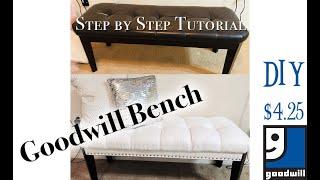 NEW! $4.25 DIY Goodwill Bench | Step by Step Tutorial | MOOREGIRL