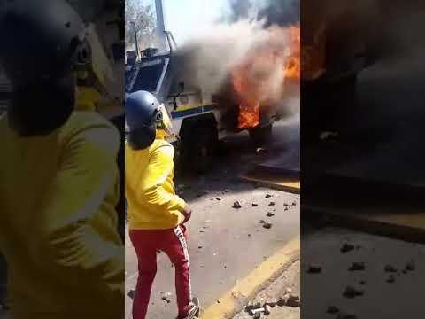 Bloemfontein protests - burning police vehicles. 18 May 2021