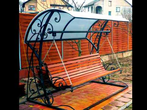 Садовые качели для дачи ковка навес из поликарбоната