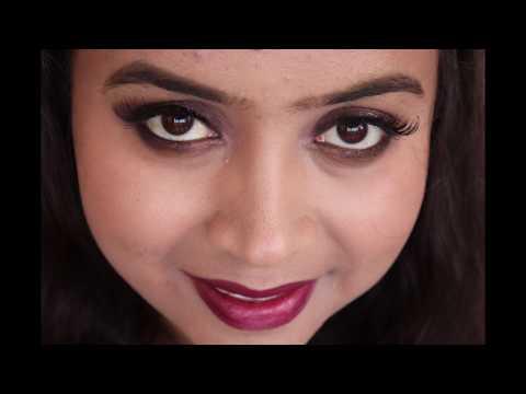 Festive Makeup|diwali Look 1|simple Wearable Look| Bronze Eye Look With Metallic Copper Red Lips