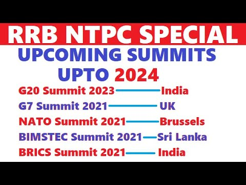 RRB NTPC | Upcoming Summits upto 2024 | Current affairs for rrb ntpc
