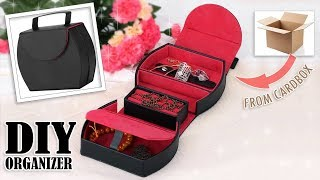 DIY PORTABLE ORGANIZER BOX STORAGE BAG AWESOME // Jewelry Case Organizer Tutorial From Cardbox