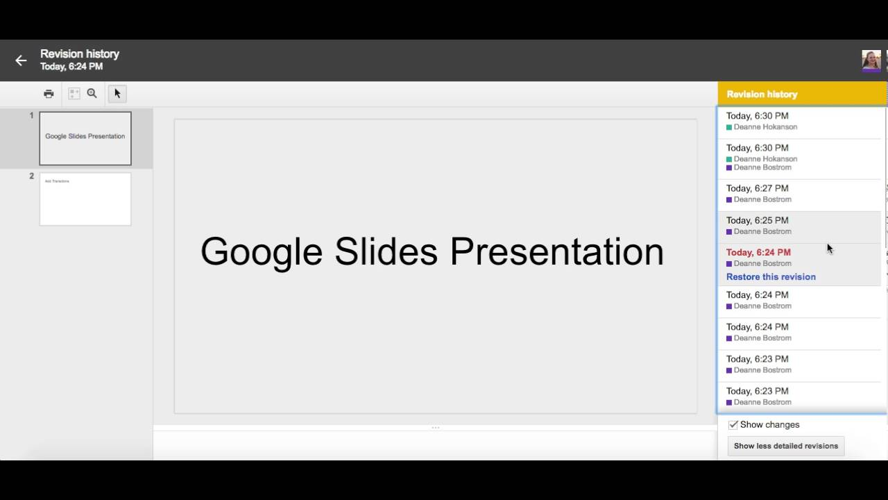 how to view revision history in google slides youtube