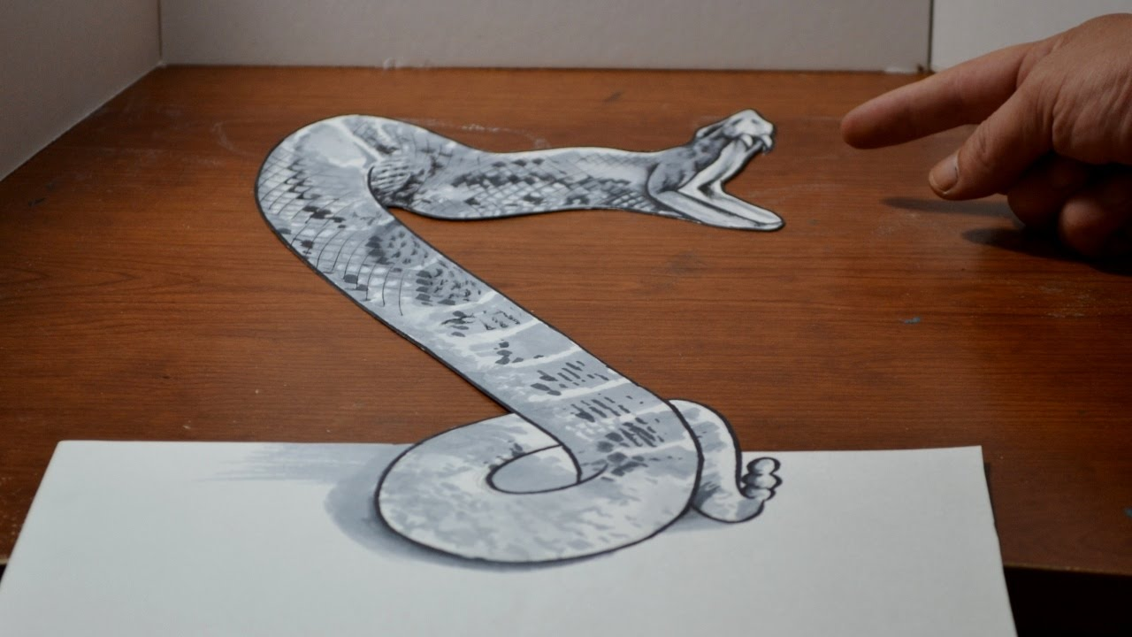 Drawing a 3D Rattlesnake - Cool Anamorphic Trick Art Optical ...