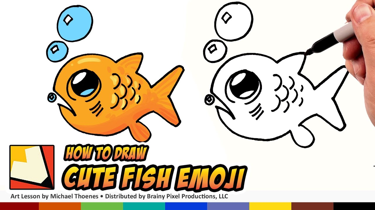 How to draw a cute fish emoji draw a cute scared little fish step by step for beginners bp