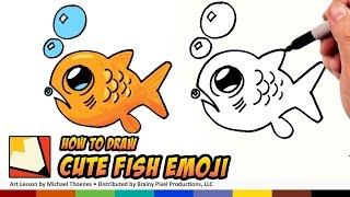 How to Draw a Cute Fish Emoji - Draw a Cute Scared little Fish Step by Step for Beginners