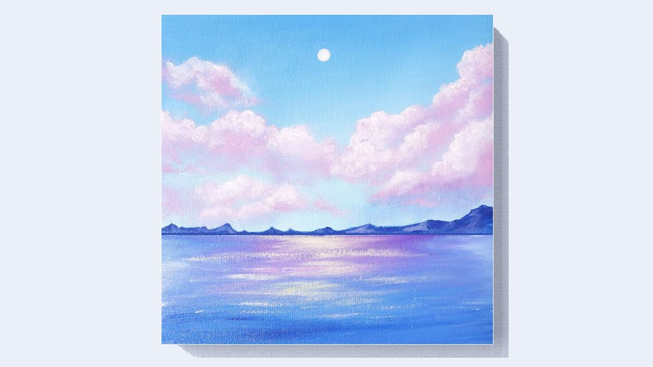 EASY CLOUD ACRYLIC PAINTING TUTORIAL FOR BEGINNERS | LEARN ...