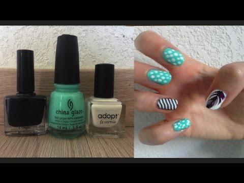 Tuto nail art ongles pois plumes d butant facile c line youtube - Tuto nail art debutant ...