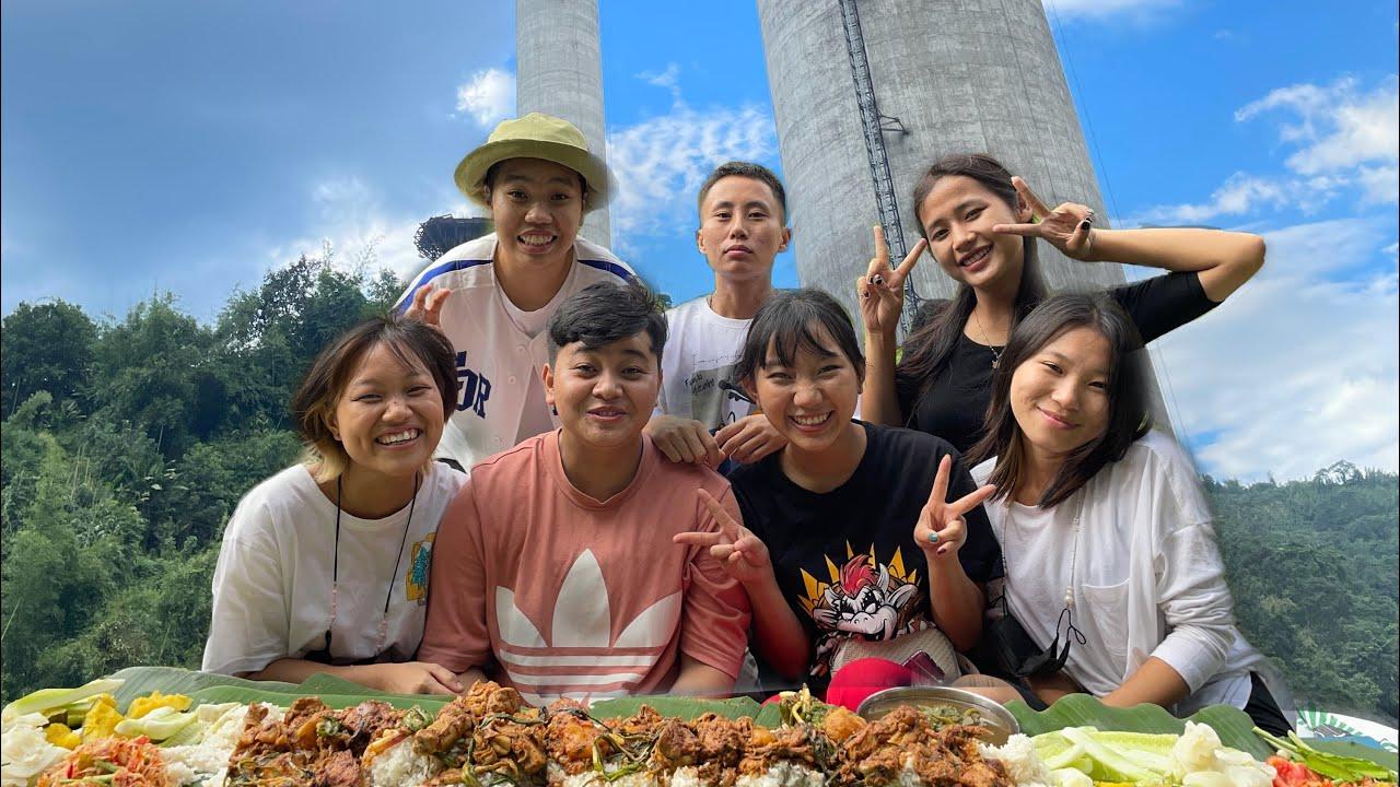 Spring onion knots Chicken, Mimi Singju, Eromba, Salad Mukbang | Noney vlog | Meitei Mukbang