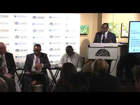 Claver Gatete speaking at the Barclays Africa Group Financial Markets Index launch
