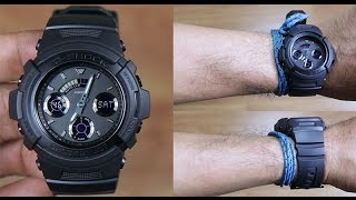casio g shock aw 591bb 1a special color full black unboxing