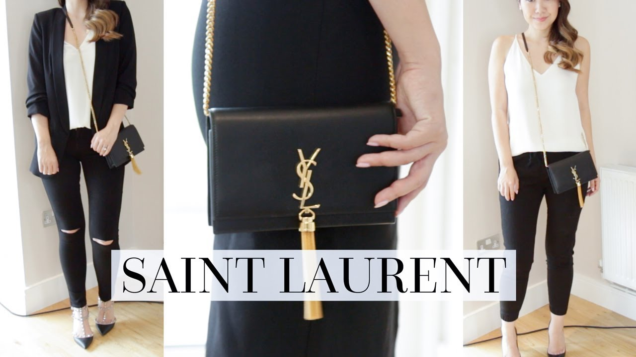 WHAT FITS INSIDE   4 OUTFIT STYLING IDEAS - SAINT LAURENT KATE BAG ... 5b19137e9443c