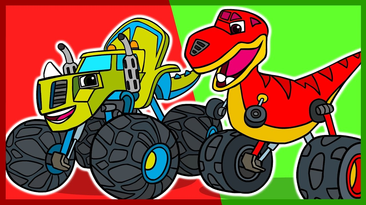 Мультик. Раскраска. Вспыш и чудо-машинки. Динозавры. Учим ...