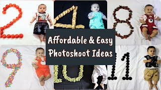 Affordable and easy baby monthly photoshoot ideas at Home
