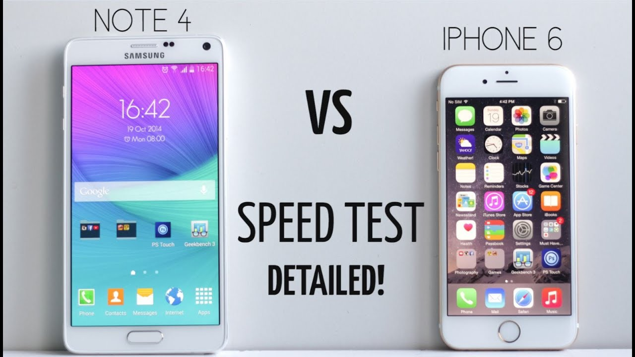 iphone 6 vs galaxy note 4 speed test detailed youtube