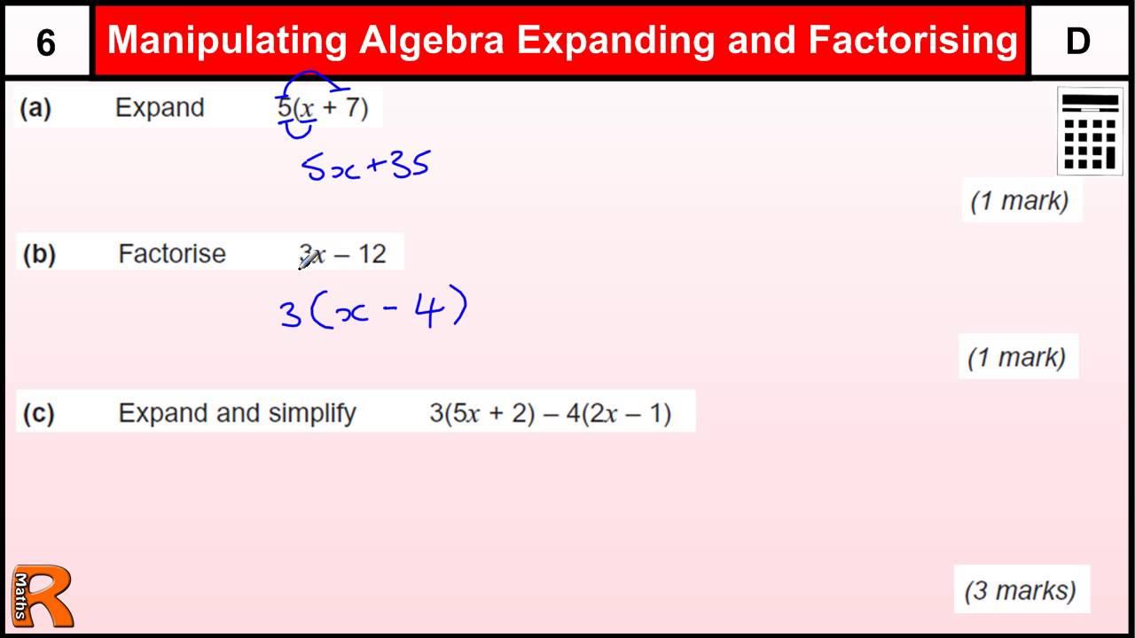 Factorise Expand Brackets Simplify Algebra Gcse Maths Revision