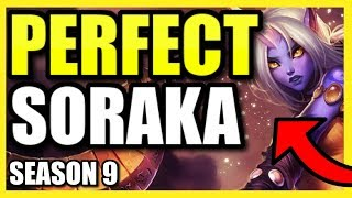 high elo perfect kda soraka support game  season 9 league of legends