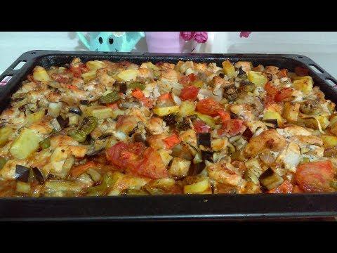 Fırında En KOLAY ve Çok lezzetli TAVUKLU Sebze Kebabı ( İFTAR MENÜSÜ TARİFLERİ)