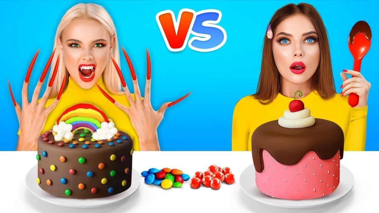 Comer Com Unhas Longas VS Unhas Curtas |  Meninas Com Problemas Com Unhas Longas por RATATA YUMMY