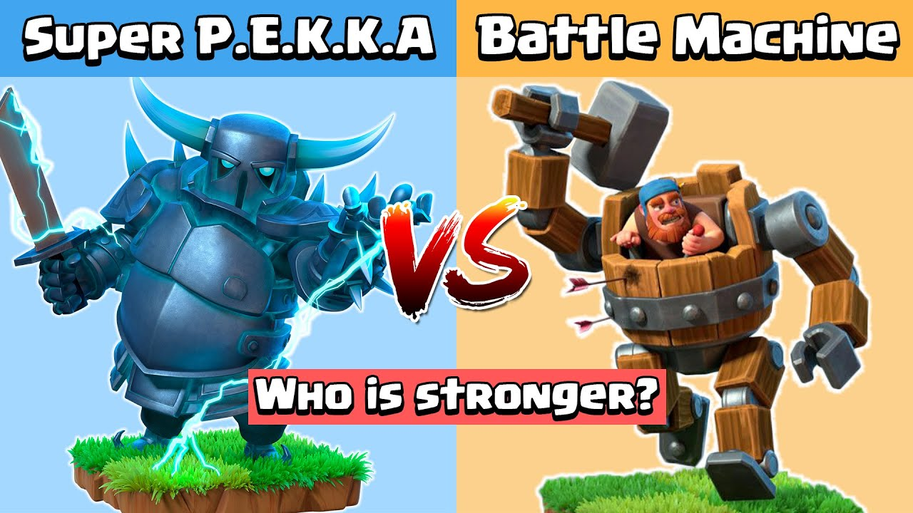 Super PEKKA Vs Battle Machine Vs All Defense | Clash of Clans