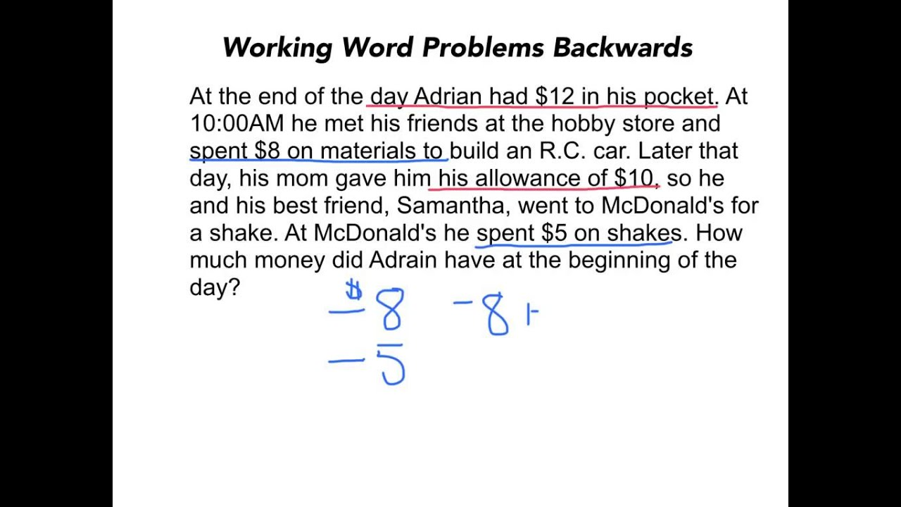 Working Word Problems Backwards - YouTube