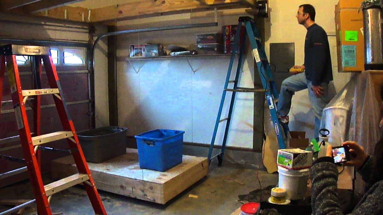 Garage loft and lift test 2 youtube for Cost to build 2 car garage with loft
