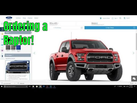 How to custom order a new car (Ford Raptor 2018)
