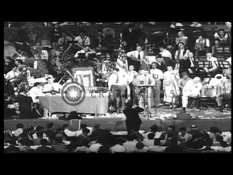 Communist Party USA holds ninth national Convention in New York City. Large Banne...HD Stock Footage