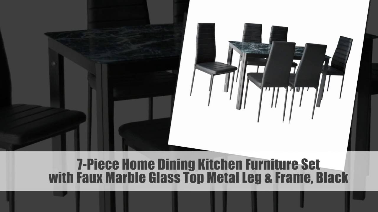 7 Piece Home Dining Kitchen Furniture Set With Faux Marble Glass Top Metal  Leg U0026 Frame, Black