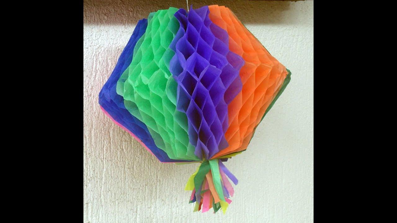 Como fazer bal u00e3o colmeia para festa junina YouTube -> Decoração De Balões Festa Junina
