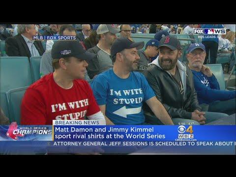 Jimmy Kimmel, Matt Damon Continue Feud At World Series Wearing 'I'm With Stupid' T-Shirts