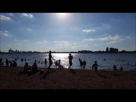 Swimming at Belle Isle Beach, Detroit, MI, July 2016