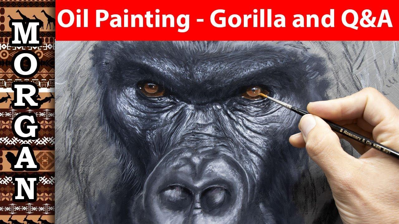Wildlife art - free oil painting lesson - Gorilla Painting