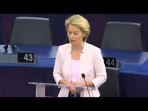 Sitzung des EU-Parlaments & Bewerbungsrede von Ursula von der Leyen