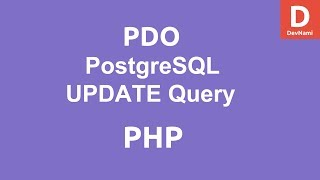 PHP PDO UPDATE query to PostgreSQL Database