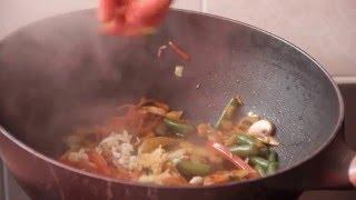Китайская лапша удон с креветками, китайская еда рецепты
