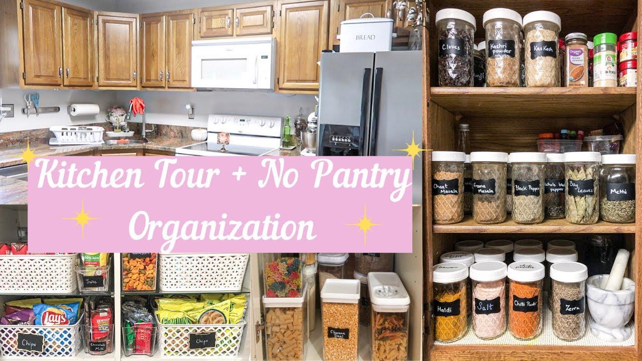 KITCHEN TOUR NO PANTRY ORGANIZATION    STORAGE IDEAS