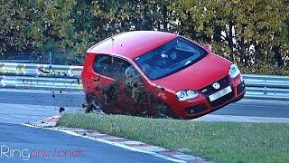 VW Golf 5 GTI almost crash in SlowMotion Nürburgring Nordschleife Touristenfahrten 30.10.16 RING