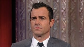 Stephen Challenges Justin Theroux To An Eyebrow-Acting Contest