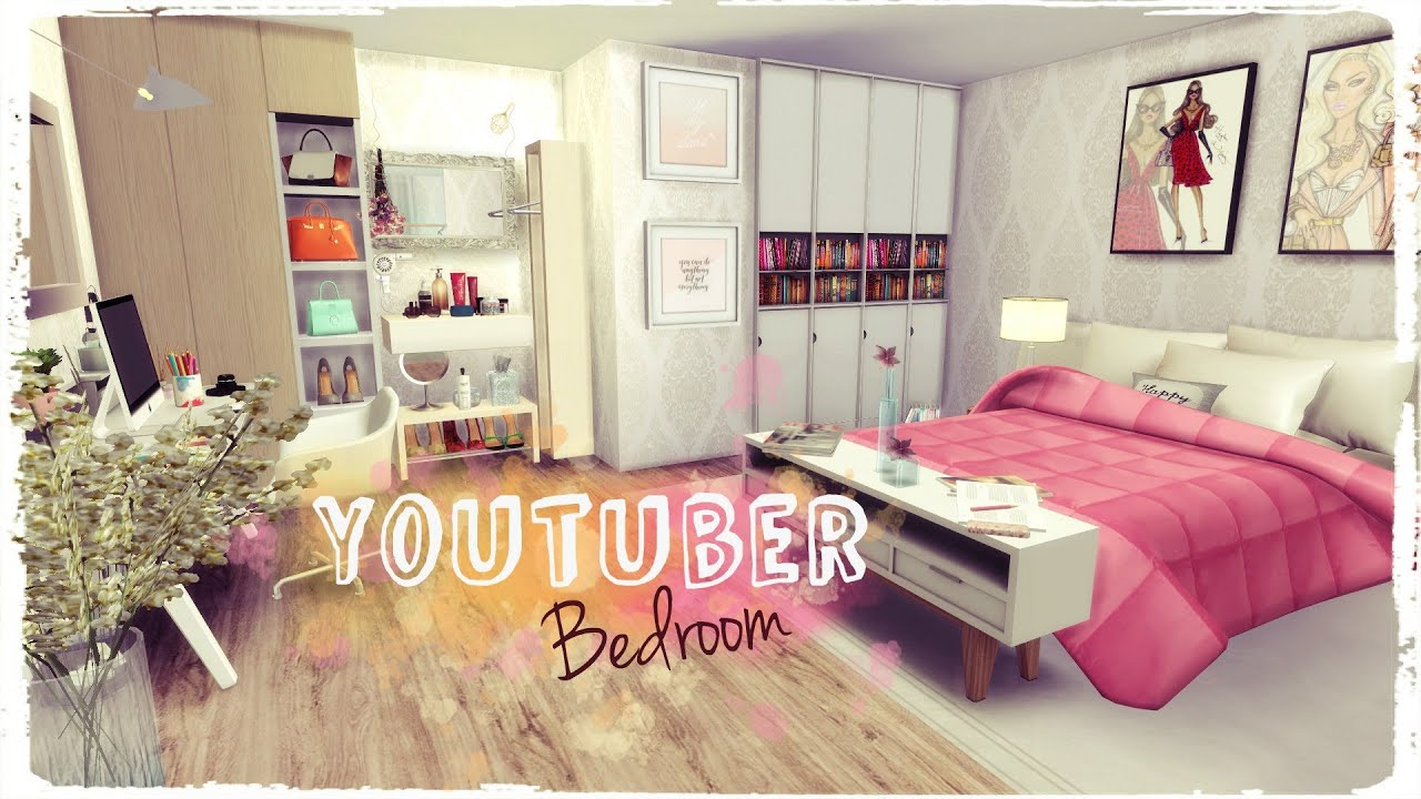 Sims 4 youtuber bedroom build decoration youtube for Bedroom designs sims 4