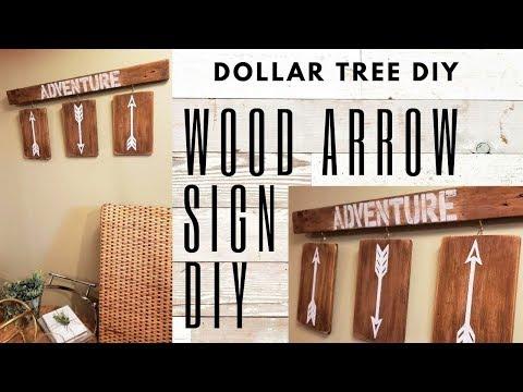 DOLLAR TREE DIYs WOOD ARROW SIGN - RUSTIC WOOD SIGN DIY - Home Decor DIY