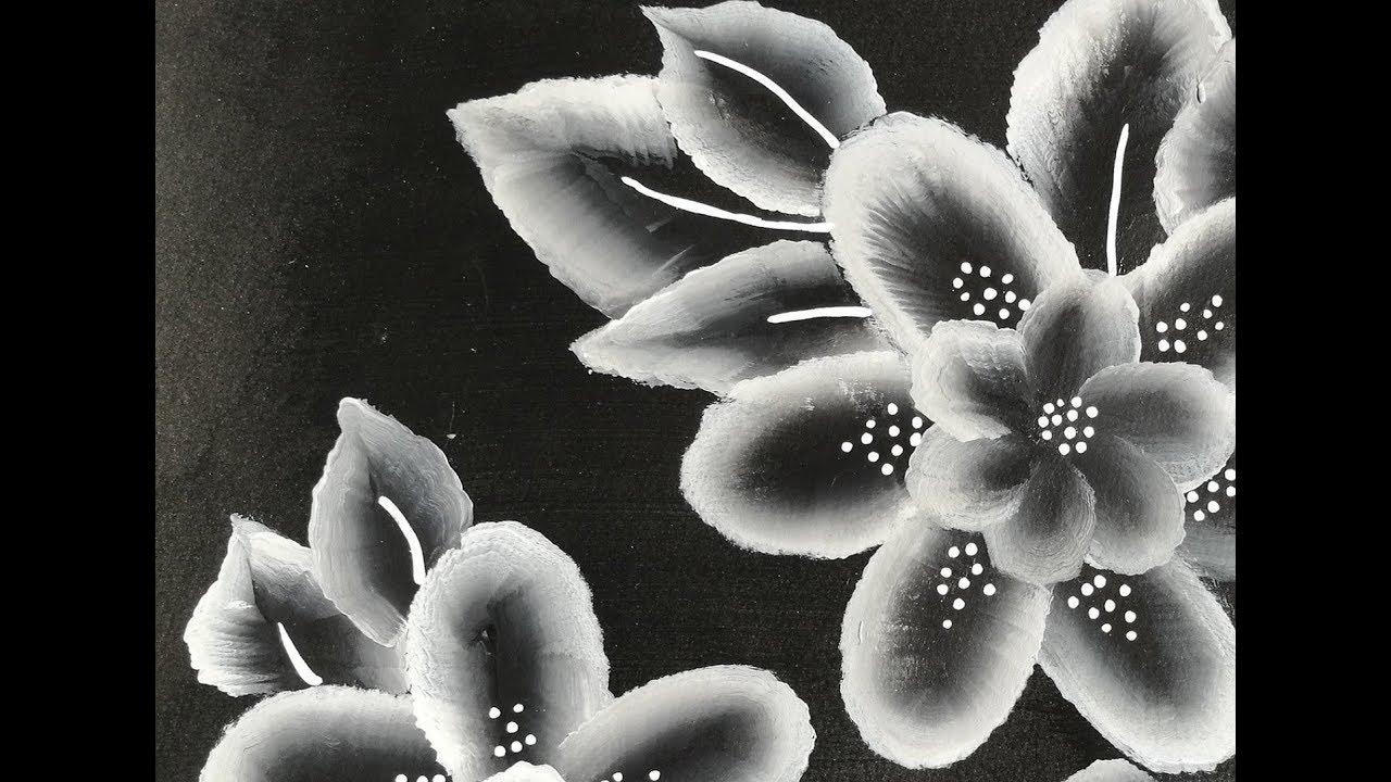 One Stroke Noir Et Blanc Peinture Acrylique Facile Youtube