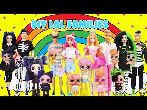 DIY LOL Surprise Families Dusk, Dawn, Goodie, Bhaddie Custom Fun Craft With Barbie & Ken Dolls