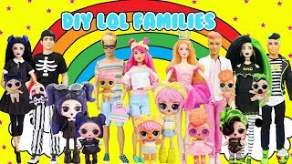 DIY LOL Surprise Families Dusk, Dawn, Goodie, Bhaddie Custom Fun Craft With Barbie & Ken Dolls